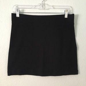 Black knit mini skirt